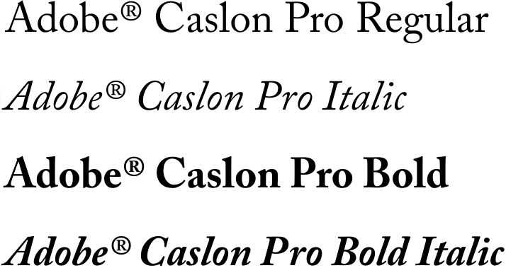 Caslon Font Example