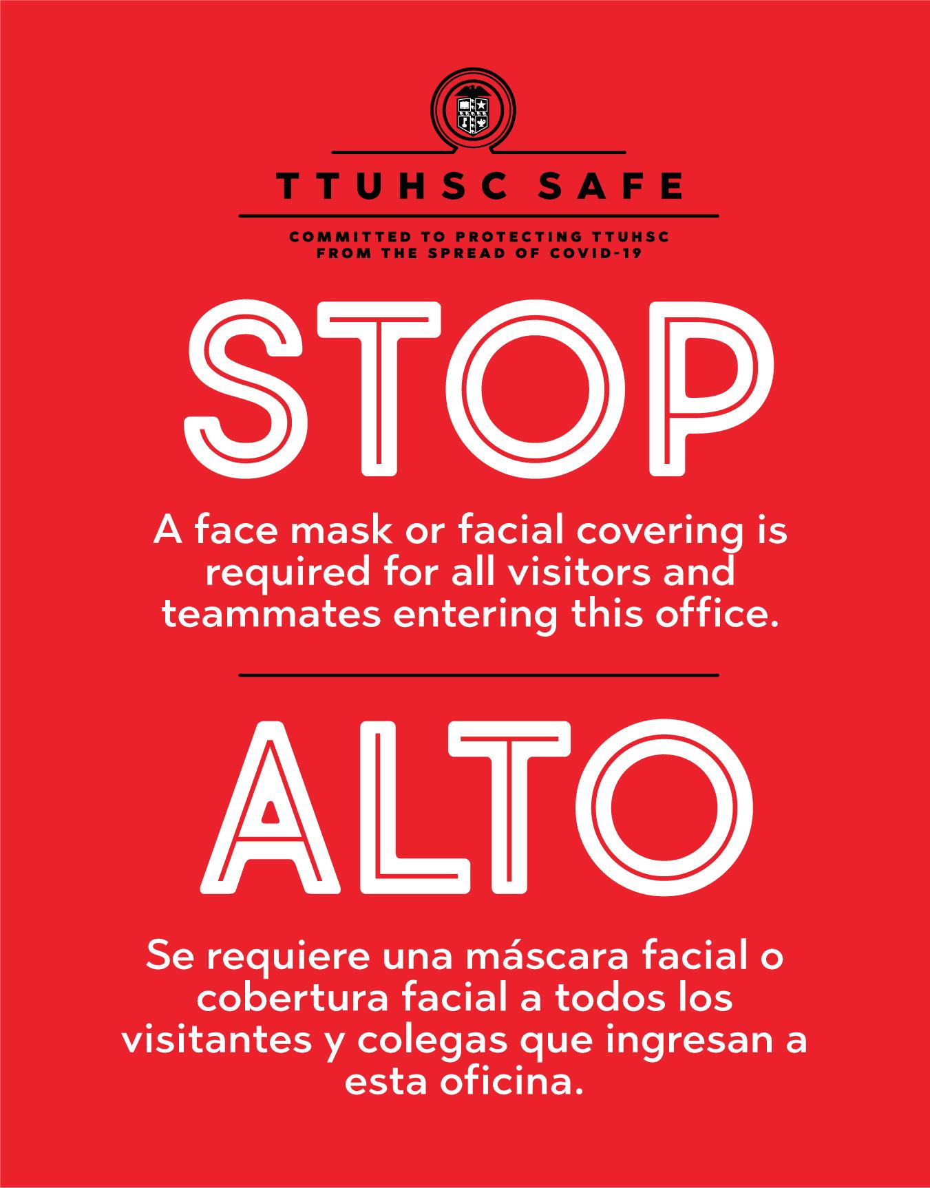 TTUHSC Safe Mask Sign Spanish